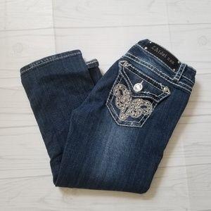 LA Idol Denim Capri Jeans with Embellishments